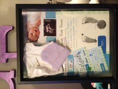 Baby Shadow Box. So adorable. I would add there first baby socks, mittens, blanket, 3d ultrasound , they're first pacifier & they're first size (unused) diaper.