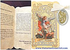 $33 St. Michael the Archangel Gold Embossed Prayer Card Folder with 2 tone Patron Saint pendant. The back has a beautiful prayer to St. Michael, Inside tells the saints story. Patronage: police, military, armed forces, army, paratroopers  Gold tone & Silver Oxidized Metal Medal with off-white Ribbon.