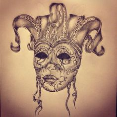 Carnival mask tattoo sketch by - Ranz
