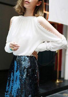 white blouse + sequined skirt