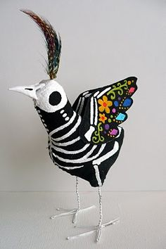 day of the dead project, los muerto, day of dead skull, bird theme, bird art