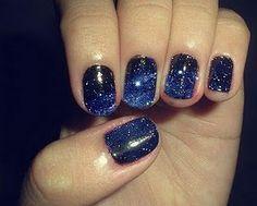 night skies, blue, nail designs, nail arts, galaxi nail