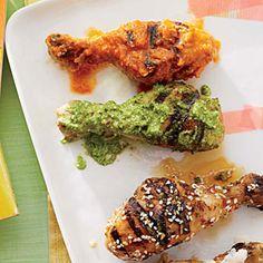 Chicken Drumsticks with Cilantro Pesto | Cooking Light #myplate #protein #dairy