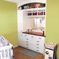 This space-saving nursery built-in was created by taking out a closet. Now there are cubbies, drawers, a 7-foot cabinet, and a changing table.