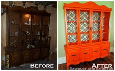 China Cabinet Rescue ~ of the Retro Orange Variety...Wow!!