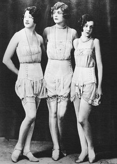 1920s Vintage lingerie models. it's interesting to see this was the ideal lingerie body form. cleavage no where to be found.