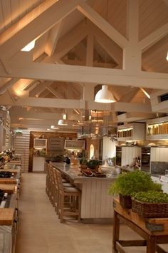 Barn house kitchen and dining area. Wow. I would love this.