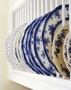 What a great way to show off some of the blue and white dishes