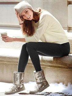 Sparkly UGG boots  leggings? love! www.ugg.de.vc   All kinds of colorsfor ugg shoes #ugg#ugg boots#boots#winter boots $85.6-178.99