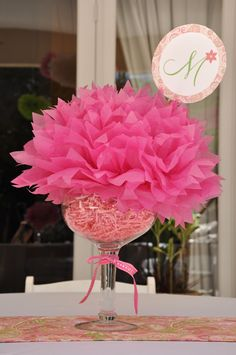 easy and inexpensive filler arrangements...make something like this with blue instead of pink and a cute monogram sticking out the top. Or put it in some galvanized small buckets I have & put the monogram straight on the bucket for baby shower centerpiece.