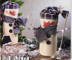 Coffee Creamer Container Snowmen!