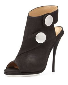 Shelbie Nubuck Snap-Strap Bootie, Black by L.A.M.B. at Neiman Marcus Last Call.