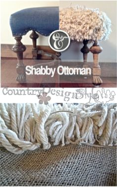 shabby-ottoman-PN #ottoman #shabby Made a removable shabby cover for a thrift store ottoman.  #inspiredby