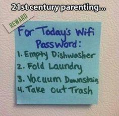 WiFi password foe chores! Genius!