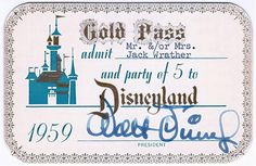 Disneyland Gold Pass, 1959