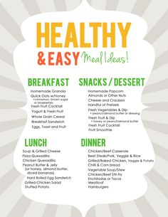 Easy & Healthy Meal Ideas List for Meal Planning