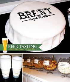 Modern Beer Tasting Birthday Party...would be cool to do for my husband's 50th birthday this year.  I'm not a fan of beer but I couldn't very well throw him a Diet Coke tasting party...LOL!  This is simple yet masculine :)