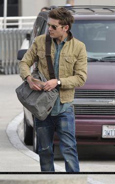 pale brown sahara cotton jacket, light blue-green shirt, blue jeans / men fashion
