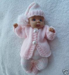 "Hand knitted dolls clothes  to fit 6.5"" ooak sculpt baby"