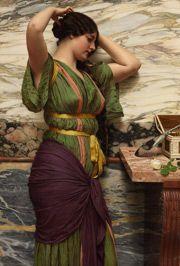 John William Godward- A Fair Reflection 1915 (oil on canvas)