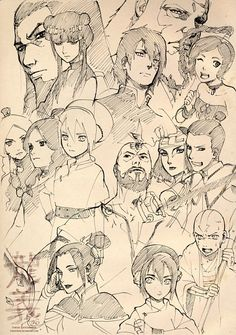 Sketches of Avatar the last airbender characters