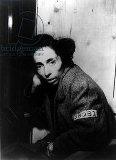 A Jewish woman from Hungary at Penig concentration camp, a sub-camp of Buchenwald, 12th April 1945 (b/w photo)