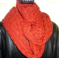 Red cable knit infinity scarf loop scarf neck by SewFreshAgain, $34.95
