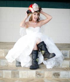Firefighter engagement picture! (could do the same thing with his medic bunker gear!!) :)