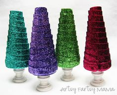 Glitter Ribbon Trees- a quick and easy Christmas craft!
