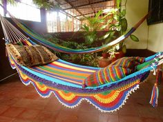 White Multicolor Hammock Double Hammock HandWoven by hamanica, $52.00