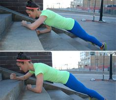 Super-Toning Stair Circuit: Work snoulders, arms, abs, butt, thighs, calves with the Army Crawl. #SelfMagazine
