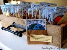 Perfect wedding favors for a spring wedding. http://teachinggoodthings.com/blog/wedding-on-a-budget-favors-seed-packets/