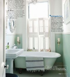Traditional shutters work great in the bathroom.