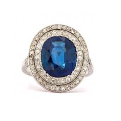 Vintage Sapphire and Diamond Ring |  Trumpet & Horn