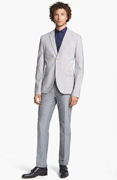 All suit pieces under $160: Topman Seersucker Blazer, Shirt & Skinny Oxford Trousers