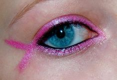 Pink ribbon eyes, do this in purple for Relay