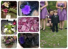 Princess and The Frog Themed Wedding - Purple and green floral accents were the simplest way to incorporate the Princess and the Frog theme. You could see them in the bridal party bouquets, table center pieces, and the pedals that were dropped thoughtfully on the ground.