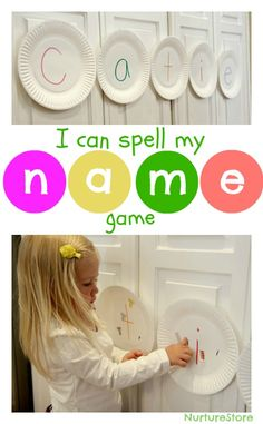 A fun kids activity to help children learn to read and spell their name: play the paper plate name game!