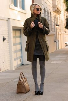 Jacket: Cynthia Steffe. Dress: Gap. Top: Equipment. Tights: H&M. Socks: Madewell. Shoes: Theysken's Theory. Purse: Celine. Sunglasses: Karen Walker. Jewelry: David Yurman, Gap, BR, Stella&Dot, YSL, Pomellato, C Wonder.