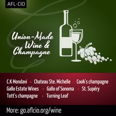 It's #NationalDrinkWine day. Indulge tonight with union made in America wines and champagne. #1u http://go.aflcio.org/wine