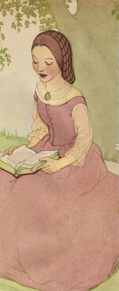 Lovely girl reading 'neath a tree 75% by katinthecupboard, via Flickr.  Anyone know the artist?  8