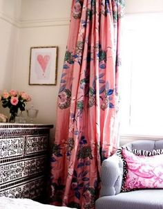 Pink chinoiserie curtains. Love.