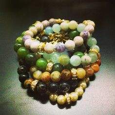"ROX Jewelry ""Girlfriend"" Bracelet in Canada Jade, Dog Tooth Amethyst,  Brandy Opal, Swarowski Pearl and Aquamarine.  Swarowski Crystal Spacer.  Brass ends.  8"".  $65 each."