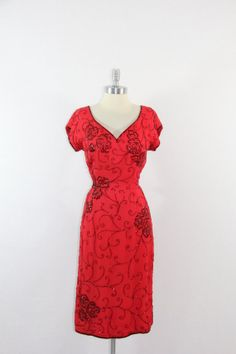 1950's Vintage Dress  EyeCatching Red by VintageFrocksOfFancy, $190.00