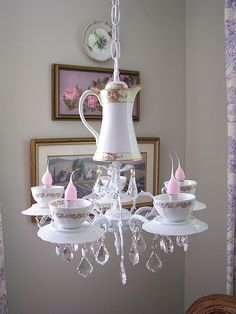 Tea pot chandelier.  Isn't this charming?
