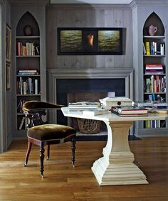 gothic librari, offic décor, fireplac combo, bookcas, home offices