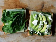 Spinach, avocado and goat grilled cheese sandwich