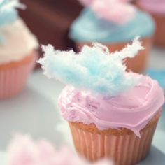 candy theme cupcakes, cotton candy cupcakes, cotton candi, food, candies, yummi, cotton candy theme party, cupcake things, candi cupcak