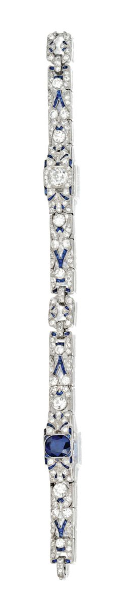 PLATINUM, SAPPHIRE AND DIAMOND BRACELET, CIRCA 1920
