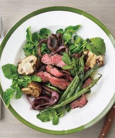 Grilled Steak, Mushroom, and Green Bean Salad recipe from realsimple.com #myplate #protein #vegetables